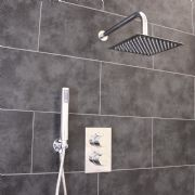 Thermostatic 2 Way Shower Valve | 2 Round Handles with Ultra Thin 200MM Square Overhead Shower Drencher & Handset | EcoSpa®